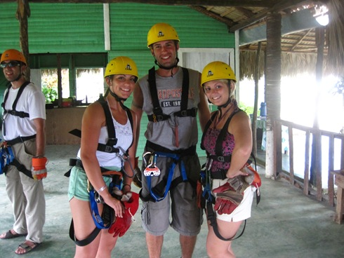 The crew all harnessed up
