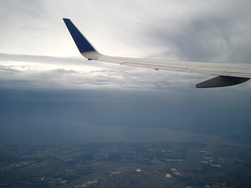 Plane wing over NJ