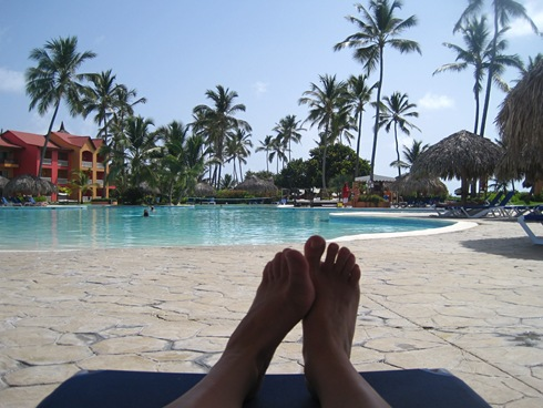First-person POV looking at the pool and my beautiful feet